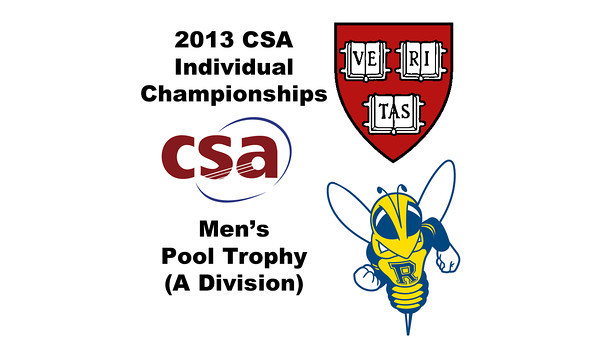 2013 College Squash Individual Championships - Pool Trophy - Quarters: Ali Farag (Harvard) and Andres Duany (Rochester)