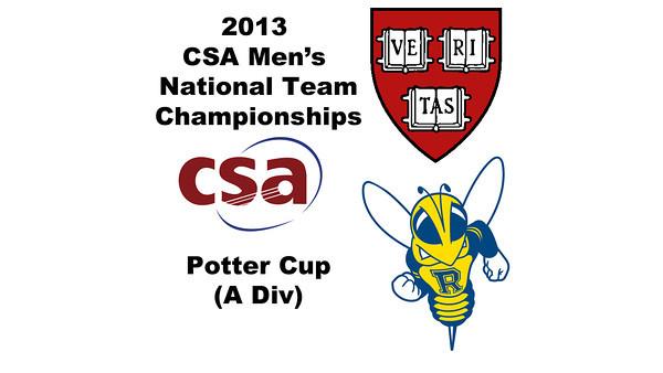 2013 Men's College Squash National Team Championships: Neil Cordell (Rochester) and Brandon McLaughlin (Harvard)