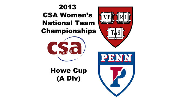 2013 Women's College Squash Association National Team Championships: Michelle Gemmell (Harvard) and Haidi Lala (Penn)