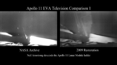 One Small Step ... This video shows Neil Armstrong climbing down the lunar module ladder to the lunar surface. The video compares existing footage with the partially restored video. The thumbnail image shows the new footage on the left and the old on the right.