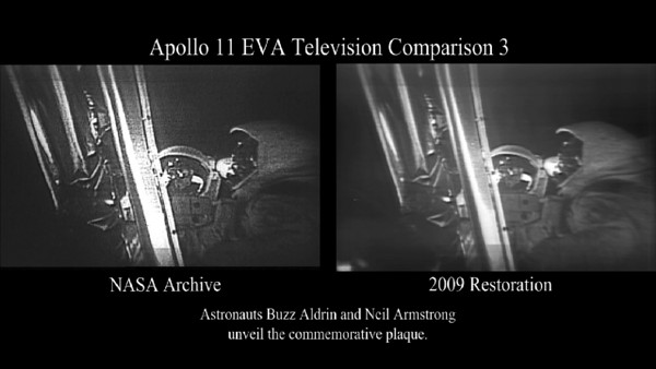 The Apollo 11 Plaque  Neil Armstrong reads a commemorative plaque affixed to the Apollo 11 lunar module. The video compares existing footage with the partially restored video. The thumbnail image shows the new footage on the left and the old on the right.