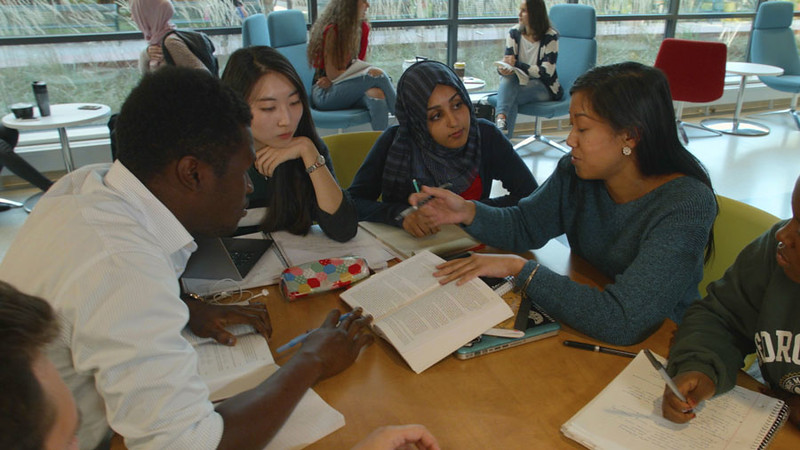 Students in Library B-Roll