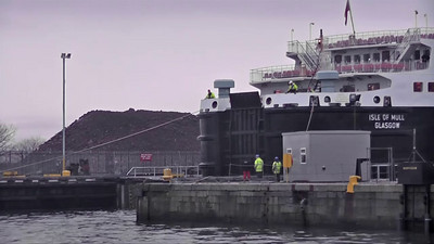 'Isle of Mull' - departing the Garvel Dry Dock, Greenock