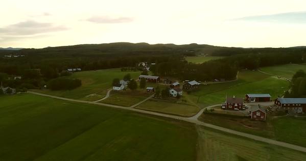Östansjösjön och Gottne från ovan -  Aerial:360 degrees pan over a rural landscape with lake and villages