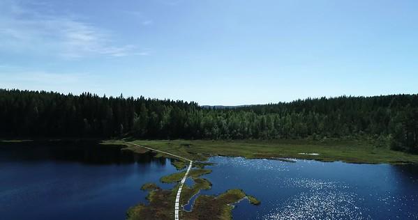Bodsjön från ovan -  Aerial: high flight over a wooden footbridge leading over a lake