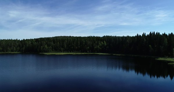 Bodsjön från ovan -  Aerial: pan over a forest lake with a wooden footbridge
