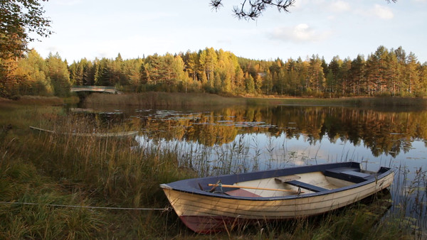 Myckelgensjösjön på hösten -  Pan over a rowing boat at a lake