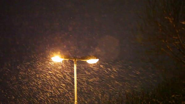 Snöfall på natten -  Street lamp shining through thick snowfall