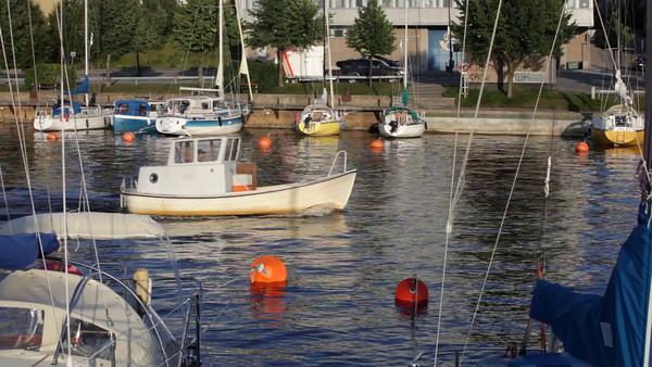 Härnösands gästhamn på sommaren -  Small boat harbor in Sweden