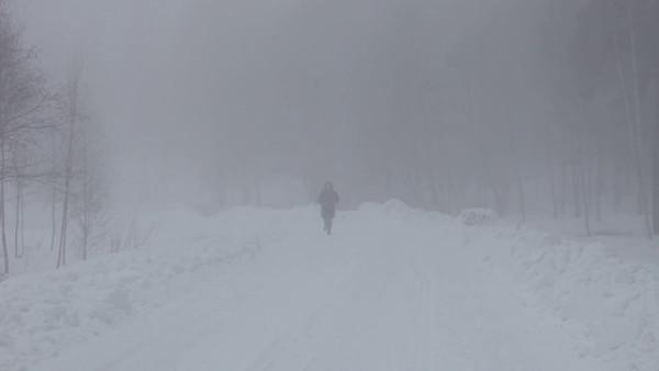 Dimmig vinterkväll i Timrå -  Woman jogging through the fog on a grey winter afternoon