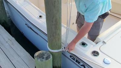 Captain Grady  Tying to a Piling