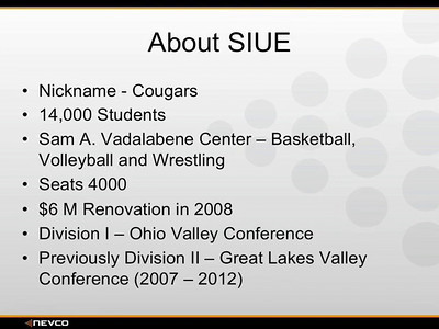 SIUE TOUR COMPLETE (RUNS 12:57) 1) INTRO 2) FLOOR CONTROL 3) CONTROL ROOM 4) SCOREBOARD AND VIDEO  MAY 24, 2012