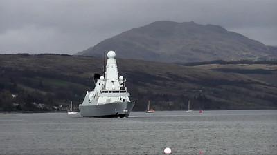 HMS Daring departing Faslane