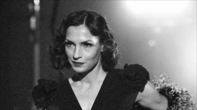Famke Janssen channels Marlene Dietrich
