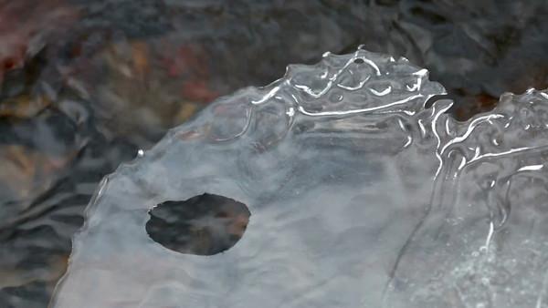Tunn is på bäcken -  Thin ice with a hole