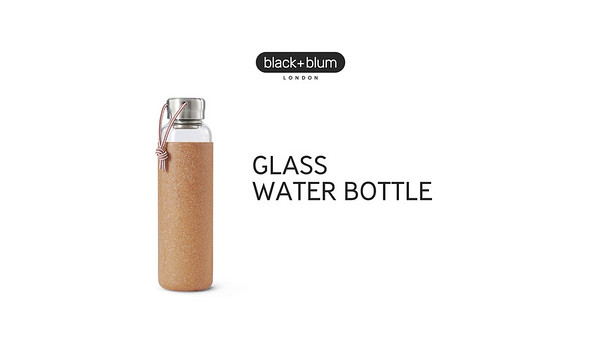 Glass Water Bottle Black Blum