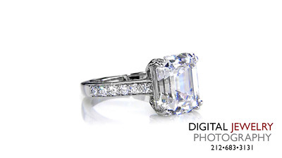 Emerald Cut Diamond Ring Melee on White_1