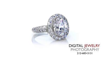 Oval Halo Diamond Ring On White_1