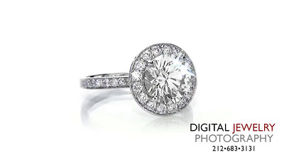 Round Diamond Halo Pave Ring On White_1