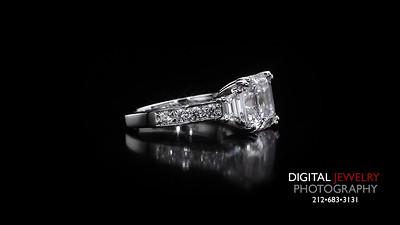 asscher cut 3 Stone Diamond Ring