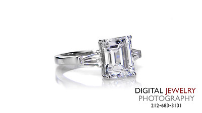 Emerald Cut 3 Stone Diamond Ring Baguette on White_1
