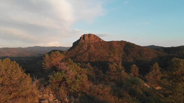 Aerial Video: Evening Approach to Thumb Butte