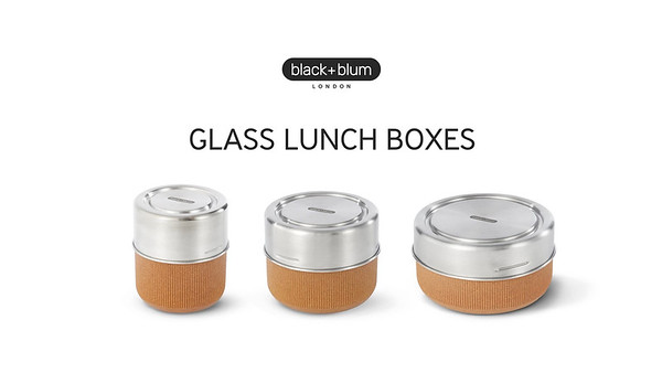 Glass Lunch Pots and Bowl Black Blum