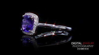 Tanzanite and Diamond Halo Ring Flyover-