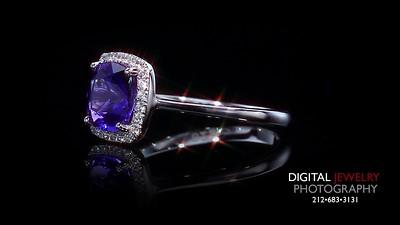 Tanzanite and Diamond Halo Ring Flyover-