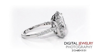 Cushion Cut Diamond Halo Melee Ring On White_1