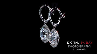 3ct Cushion Halo Diamond Earrings djp logo