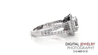 Ascher Cut Diamond Halo Split Shank Ring On White_1