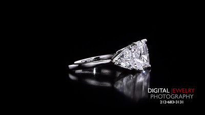 3 Stone Cushion and Trillion Diamond Ring 04