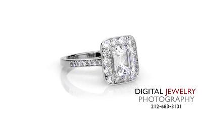 Emerald Halo Diamond Ring on White_1