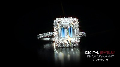 Emerald Cut Diamond Halo Ring Front logo