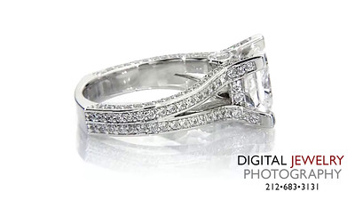 Princess Cut Shank Diamond Ring on white_1