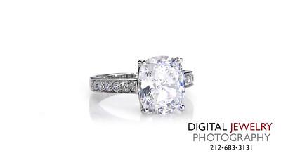 Cushion Melee Diamond Ring On White_1