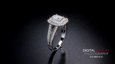 Princess Halo Slipt Shank Diamond Ring Flyover