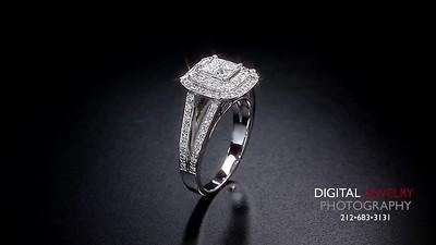 Princess Halo Slipt Shank Diamond Ring Flyover