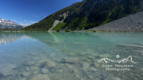 Pan across thrid Lake at Joffre Lakes Provincial Park, BC, Canada.  Stock video footage by Mitch Winton - coastphoto.com