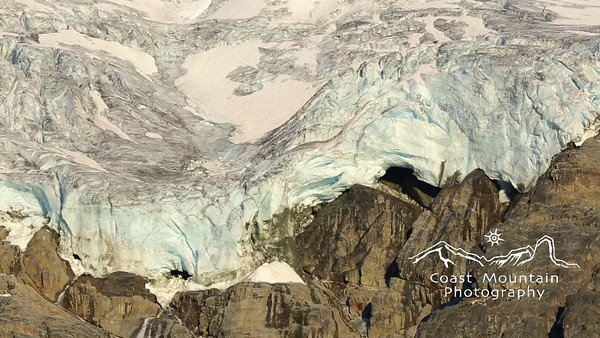 Close up of last light on Matier Glacier in Joffre Lakes Provincial Park Stock video footage by Mitch Winton - coastphoto.com