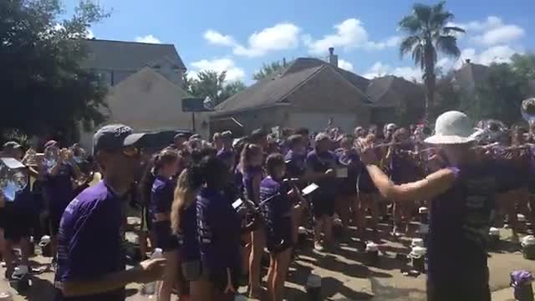 "2017 College Station HS Band & Guard March-A-Thon - ""Fight Song"" and Singing Happy Birthday"