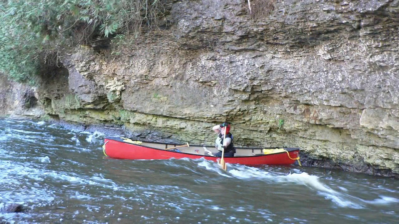 Elora Gorge in open canoes by Jean Lefebvre
