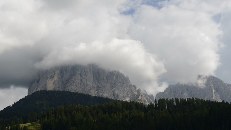 View of the Langkofel and Plattkofel Mountains in Gröden, Italy