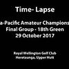 "A short time-lapse showing the leading group approaching the 18th green along with the throngs of spectators on the final day of competition in the Asia-Pacific Amateur Championship tournament 2017 held at Royal Wellington Golf Club, in Heretaunga, Upper Hutt, New Zealand from 26 - 29 October 2017. Copyright John Mathews 2017.    <a href=""http://www.megasportmedia.co.nz"">http://www.megasportmedia.co.nz</a>"