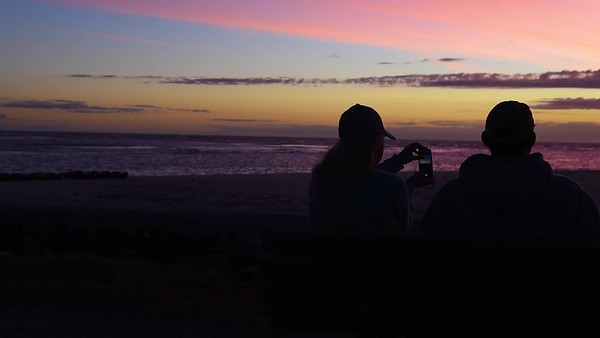 St Simons - East Beach - Couple Taking Photo of Sunrise