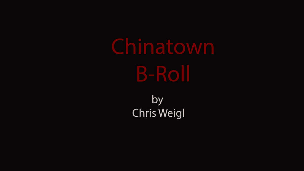 B-Roll of Chinatown by Chris Weigl, fall 2012, created for JO515 Multimedia Photojournalism.