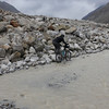 Emilie slowly and carefully moving across the flooded road between Darcha and Zanskar Sumdo (video by Jochen)