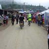 Leaving Kiewkacham through the morning market