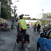 Cycling through Bangkok on our way out of the city